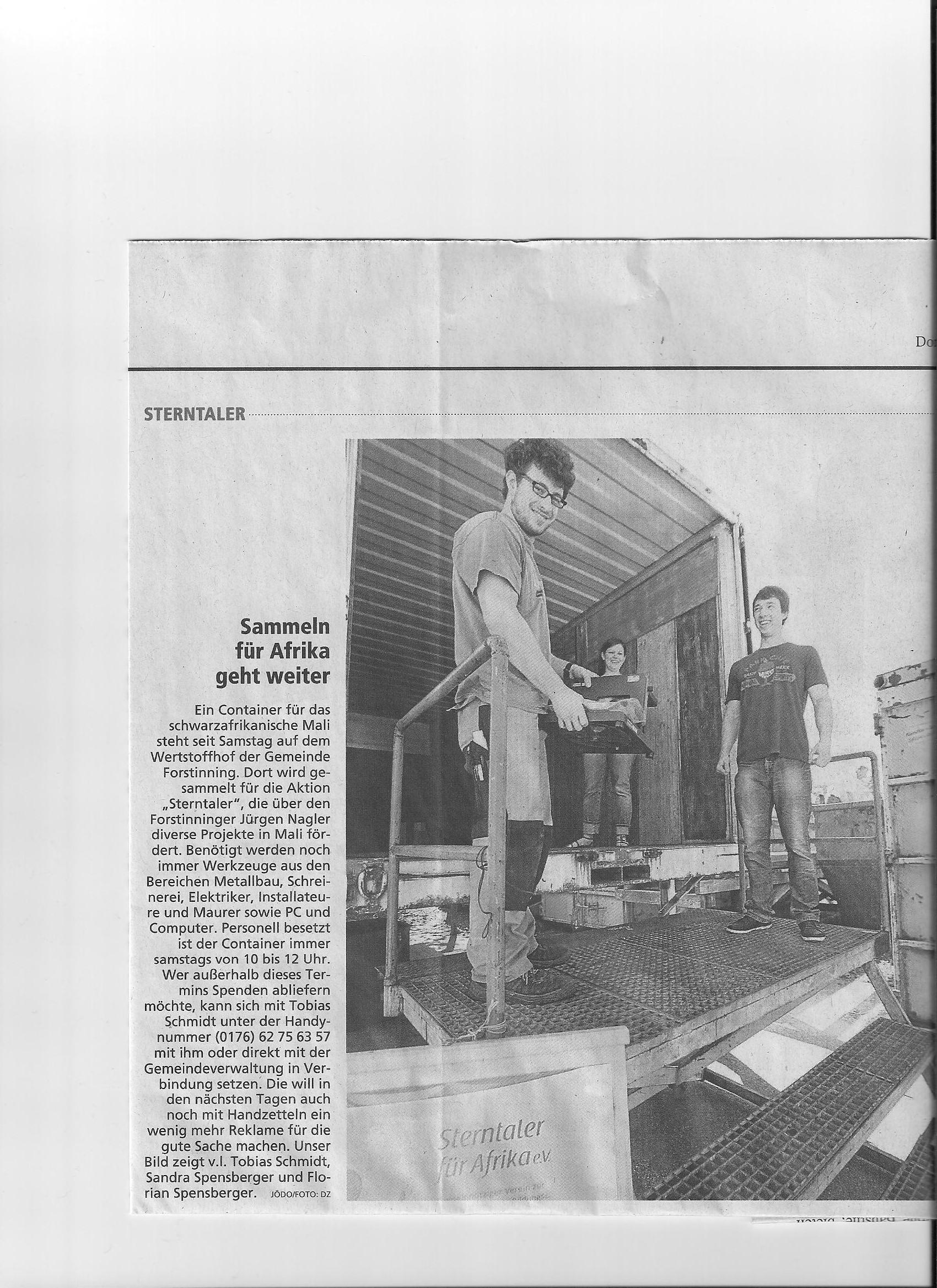 Zeitungsartikel - Sammelaktion 2012